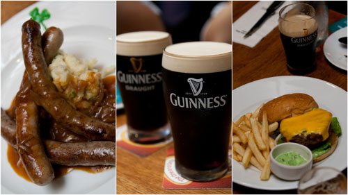 Guinness infused sausages and burger