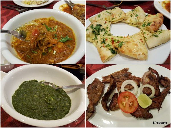 chicken masala, garlic cheese naan, palak paneer, and grill lamb chops