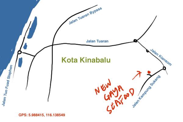 map to New Gaya Seafood restaurant, KK