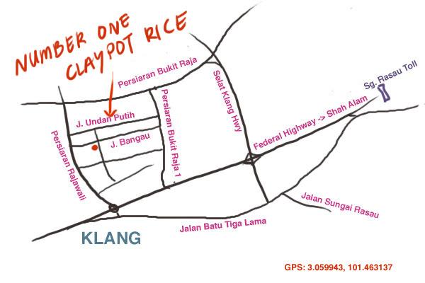 map to Number One claypot rice, Taman Berkeley, Klang