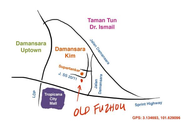 map to old fuzhou restaurant at Damansara Kim