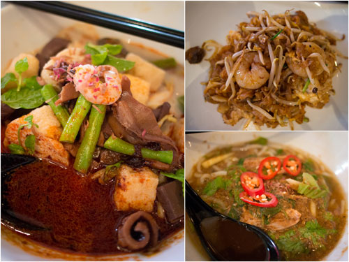 curry mee, char kueh teow, and Penang laksa