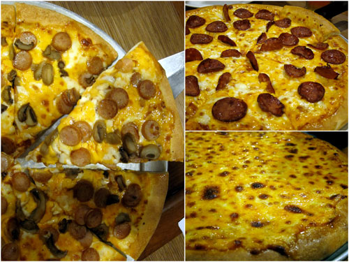 three types of cheesy extreme 6 pizzas