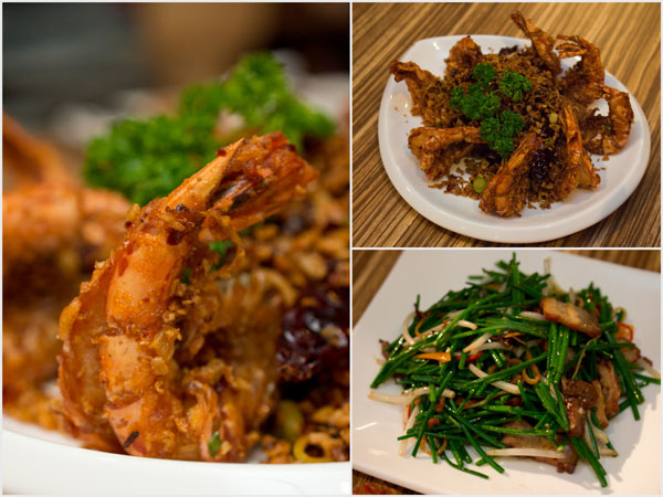 typhoon shelter tiger prawn, sauteed Chinese chives with pork belly in XO sauce