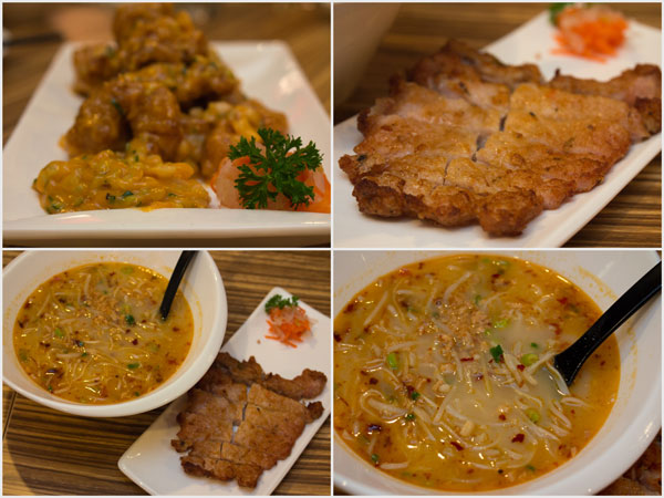 deep-fried pork ribs with special salad sauce, typhoon shelter noodles with pork chop
