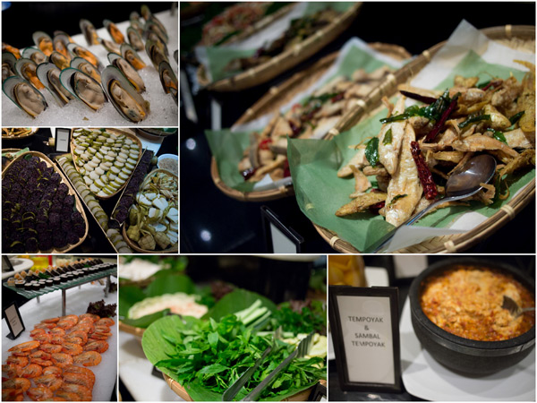 mussels and prawns on ice, salted fish, ulam-ulam, lemang, and even tempoyak