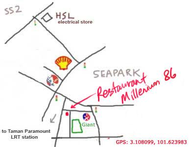 map to Restaurant Millenium 86 at Sea Park