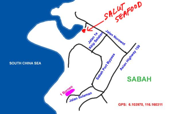 map to salut seafood, kota kinabalu
