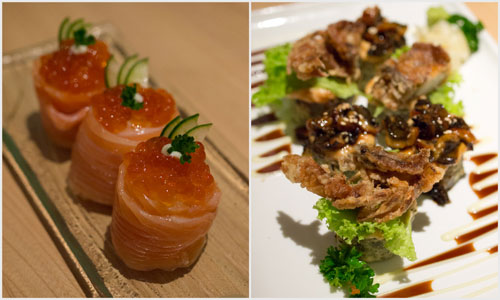 salmon ikura hana, soft shell crab and unagi mentai maki