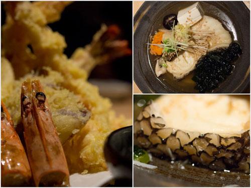 giant ebi tempura (prawn), gindari nitsuke (codfish)