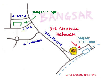 map to sri ananda bahwan at Bangsar