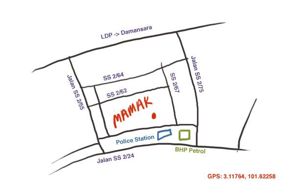map to Mamak Square at Petaling Jaya SS2