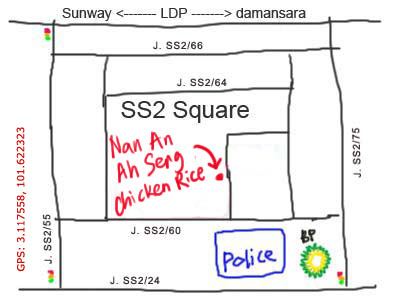 map to ss2 mamak chicken rice