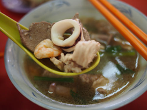 pork noodle soup accompanying the dried version