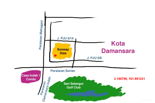 map to Sunway Giza, Kota Damansara