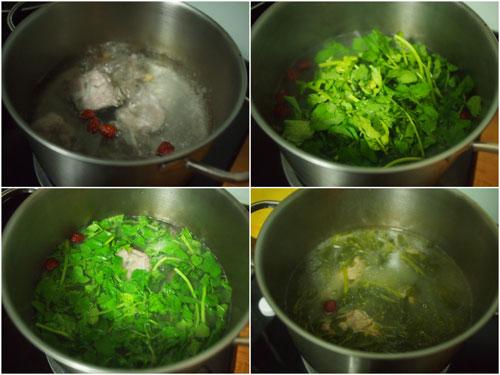 boil meat/chicken, then add watercress, done!