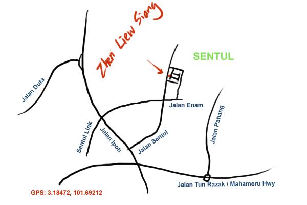 map to Zhen Liew Siang, Sentul