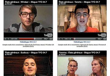Des vidéoblogues sur le site des États généraux sur le postsecondaire en Ontario français. En haut à droite: Lucas Egan, qui a participé aux consultations d'Ottawa et de Toronto.