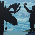 """Samuel de Champlain est souvent représenté avec son astrolabe, comme dans cette toile, """"Rencontre"""", de Charles Pachter."""