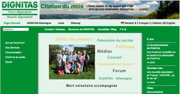 La page d'accueil du site de Dignitas en Suisse.