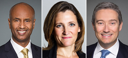 Ahmed Hussen, Chrystia Freeland, Francois-Philippe Champagne.