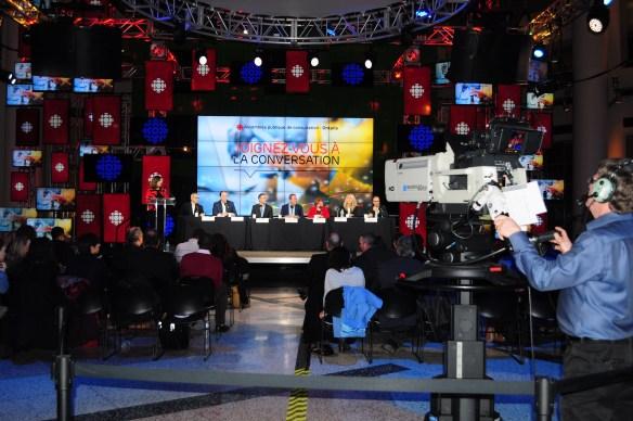 L'assemblée de consultation du 8 février dans l'atrium de Radio-Canada.