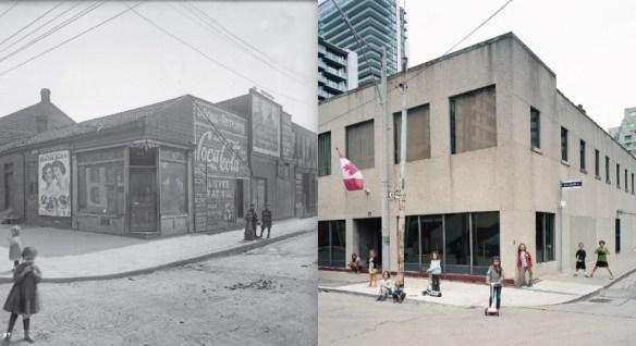 Les enfants dans la rue Elizabeth à Toronto, 1912 et 2015.