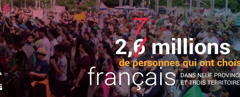 La bannière du site web de la FCFA vantant le fait que 2,7 millions de Canadiens parlent le français à l'extérieur du Québec.
