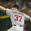 Washington Nationals starting pitcher Stephen Strasburg delivers a pitch against the Arizona Diamondbacks during the sixth inning of a baseball game on Friday, Aug. 10, 2012, in Phoenix. Strasburg allowed one hit and one run in six innings of work. (AP Photo/Ralph Freso)