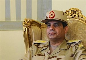 Egypt's Defense Minister Abdel Fattah al-Sisi is seen …