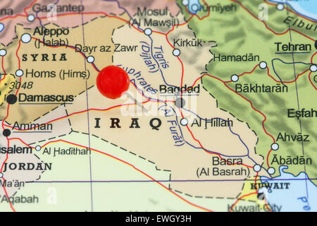 Map of Iraq Stock Photo  77998211   Alamy     Close up of a red pushpin on a map of Iraq   Stock Photo