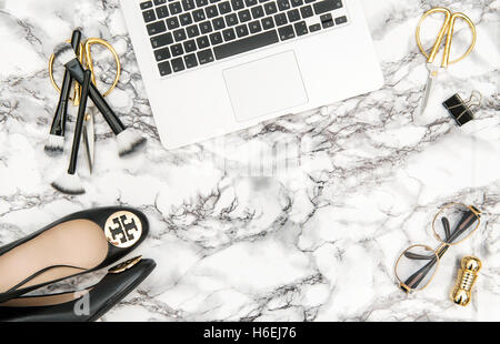 notebook shoes office supplies feminine accessories on bright marble table background fashion i