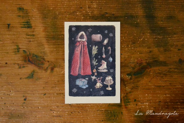 Christmas Lady Postcard. Print watercolor. Vintage Christmas Green and red Illustration with Santa's coat, xmas pudding, ice skate