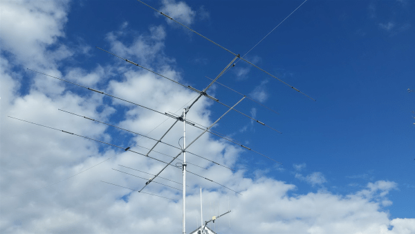 Antenna in place, about 2 meters below the HF-yagi. Not a perfect location, but it is the best I can do for the time being.