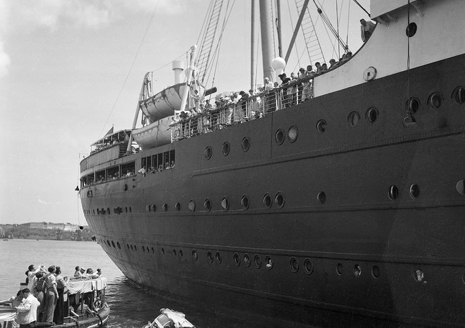 The German liner St. Louis, carrying about 900 German Jewish refugees, was denied entrance to the Havana harbor in 1939. The ship was later denied entrance to the United States and returned to Hamburg, Germany.