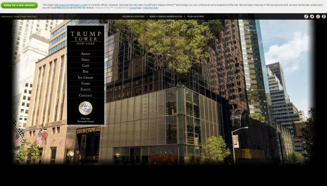 A screen capture of www.trumptowerny.com after activist hacking group Anonymous targeted the site. /www.trumptowerny.com