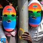 Masked Kenyan supporters of the LGBT community protest against Uganda's anti-gay bill in front of the Ugandan high commission in Nairobi, Kenya. Photograph: Dai Kurokawa/EPA