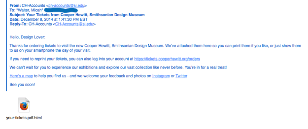 Screen shot of an email confirming cooper hewitt ticket order