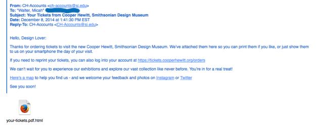 Screen shot of an email confirming cooper hewitt ticket order