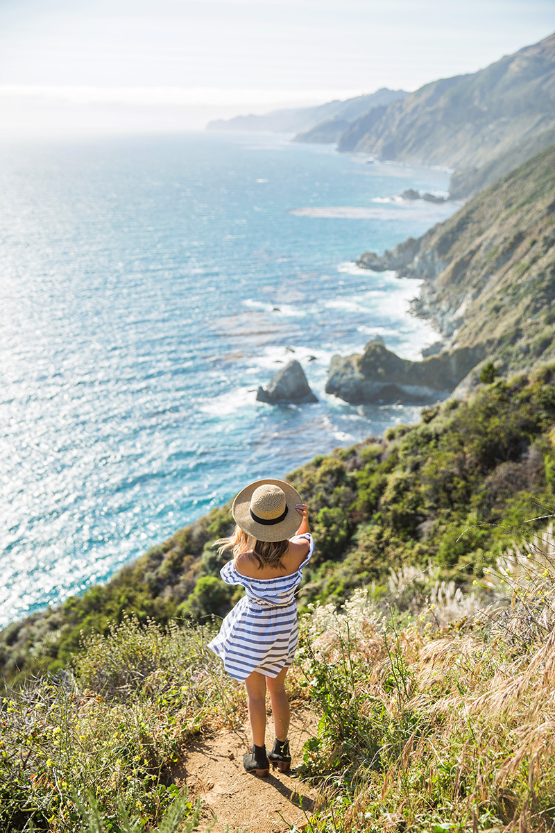 petite fashion blog, lace and locks, los angeles fashion blogger, stripe off the shoulder dress, asos off the shoulder dress, big sur trip, vacation outfit ideas, travel outfit ideas