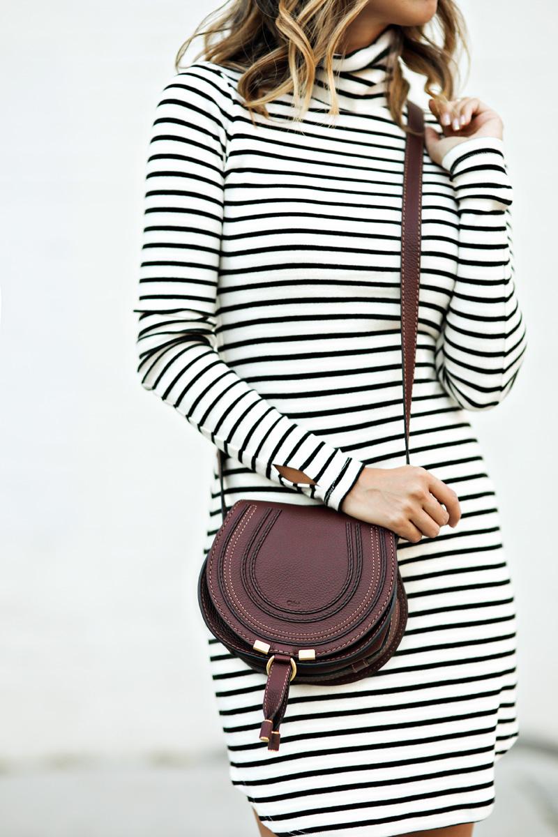 petite fashion blog, lace and locks, los angeles fashion blogger, oc fashion blogger, fall outfit, nordstrom fall fashion, stripe dress, burgundy booties