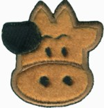 2 5/8'' by 2 3/4'' Iron On Fuzzy Cow Applique2 5/8'' by 2 3/4'' Iron On Fuzzy Cow Applique