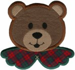 5 7/8'' by 4 1/2'' Iron On Christmas Bear Head Applique5 7/8'' by 4 1/2'' Iron On Christmas Bear Head Applique