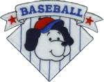 4'' by 3 3/8'' Iron On Baseball Dog Applique4'' by 3 3/8'' Iron On Baseball Dog Applique