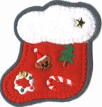 3'' by 3'' Iron On Stocking Applique3'' by 3'' Iron On Stocking Applique