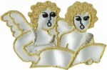 2 3/8'' by 1 5/8'' Gold/White Angel Applique2 3/8'' by 1 5/8'' Gold/White Angel Applique