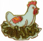 2 3/8'' by 2 3/8'' Iron Chicken Applique- Brown, Blue2 3/8'' by 2 3/8'' Iron Chicken Applique- Brown, Blue