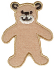 1 7/8'' by 1 1/2'' Iron On Bear Applique - Tan, Brown1 7/8'' by 1 1/2'' Iron On Bear Applique - Tan, Brown