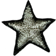 1'' - 26mm - Black/Silver Star Applique1'' - 26mm - Black/Silver Star Applique