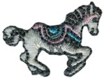 1'' by 3/4'' Iron On Carousel Horse Applique- 2 Colors1'' by 3/4'' Iron On Carousel Horse Applique- 2 Colors